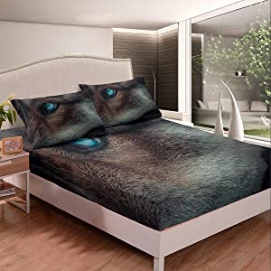 Boys Wolf Fitted Sheet for Kids Child Safari Bedding Set Wildlife Animal 3D Printed Bed Sheet Set Fiercely Eye Close-Up Pattern Bed Cover Lightweight Decor 2Pcs Twin Size