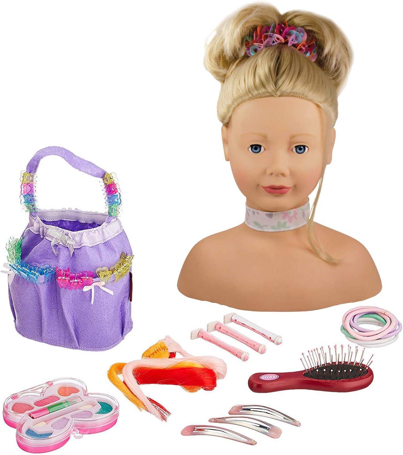 Gotz 1192052 Peluquín con Pelo Rubio y Ojos Azules - 28 cm Alta Cabezal de Maquillaje / Cabezal de Vestir - Juego de 58 Piezas - Adecuado para niñas a Partir de 3 años