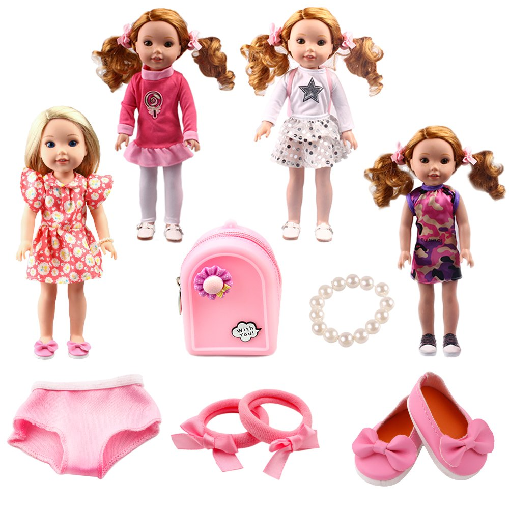 BBTOYS 14.5inch 4set doll clothes shoes& Waterproof backpack Wellie Wishers Willa Dolls Doll Accessories Set
