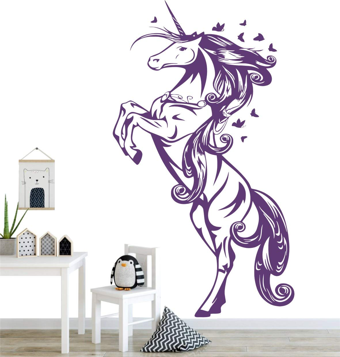 Beautiful Stand Unicorn Wall Decal,Art Removable Kids Nursery Bedroom Butterflies Unicorn Horse Wall Sticker,Baby Room Decoration Home Decor Wall Decor ES-43 (Violet, 55X97CM) YOYOYU
