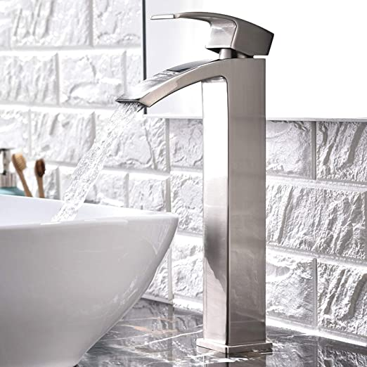 Tall Single Lever Brushed Nickel Bathroom Sink Faucet Vanity Countertop W//Drain
