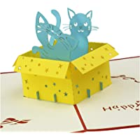 3D Popup Greeting Card - Kitten in Box - Funny Birthday Card, Kids Birthday Cards, Greeting Cards for Happy Birthday (Shining Red)