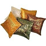 Little India Zari Hand Embroidery Work Silk 5 Piece Cushion Cover Set - Multicolor (DLI3CUS431)