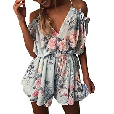 d06c3404b8 ISSHE Summer Playsuits Womens Off The Shoulder V Neck Halter Playsuit  Ladies Jumpsuits Short for Women