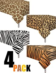 4 Pack Animal Safari Theme Zoo Print Table cover/Animal Theme Tablecloth Party Supplies/Ideal for Birthday parties, Animal Th