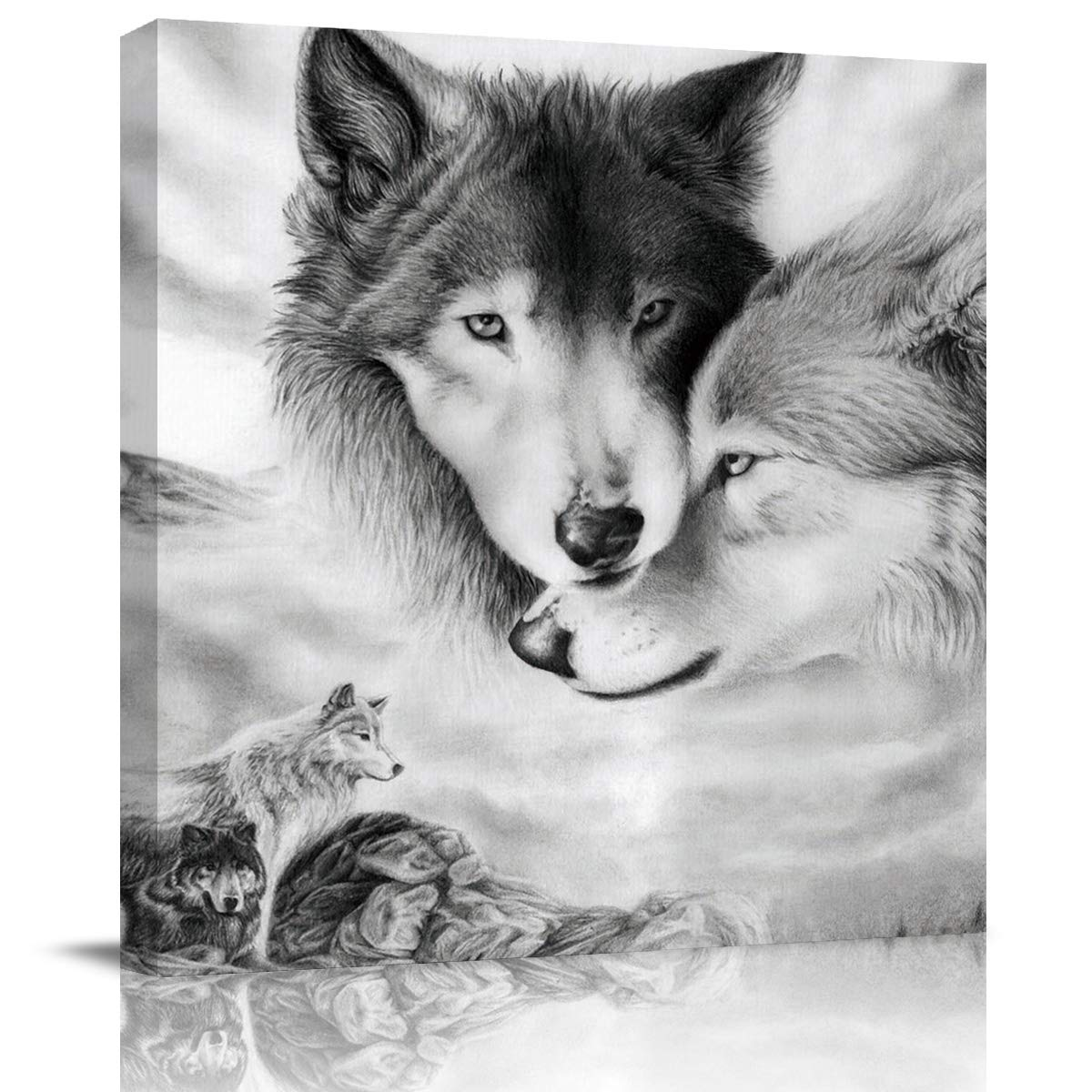 Print Picture Painting Canvas Wall Art Animal Themed Ice Gray Wolf Loving Family 8x8in Modern Oil Painting Wall Art Decoration for Living Room Bedroom