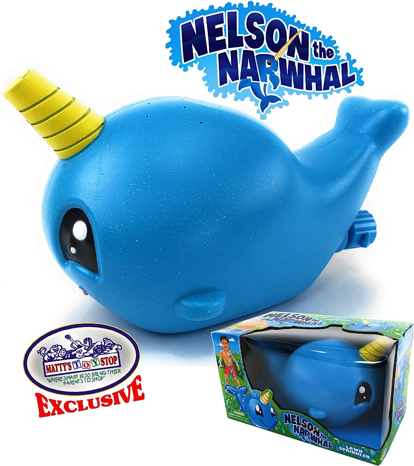 Mattys Toy Stop Nelson The Narwhal Blue Unicorn of The Sea Water Sprinkler