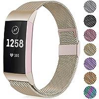 Faliogo Metalen Vervangende Bandje Compatibel met Fitbit Charge 3 Bandje/Fitbit Charge 4 Bandje, Verstelbare Roestvrij Staal Vervangende Bandje voor Dames & Mannen, Klein Groot