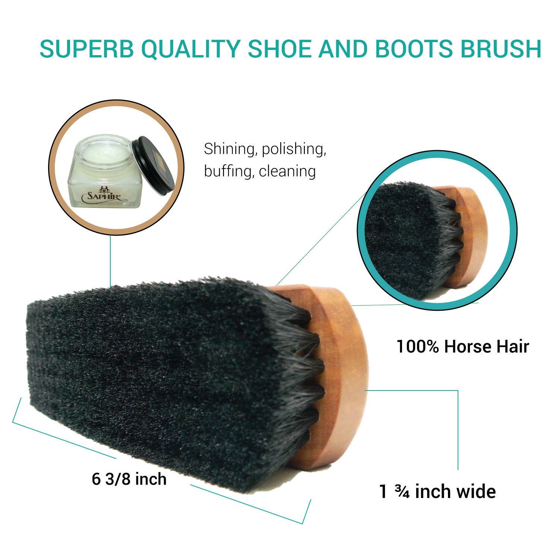 Genuine Horse Hair Made in Germany Brilliant Outcome Polisher Valentino Garemi Premium Leather Shoe Shine Brush