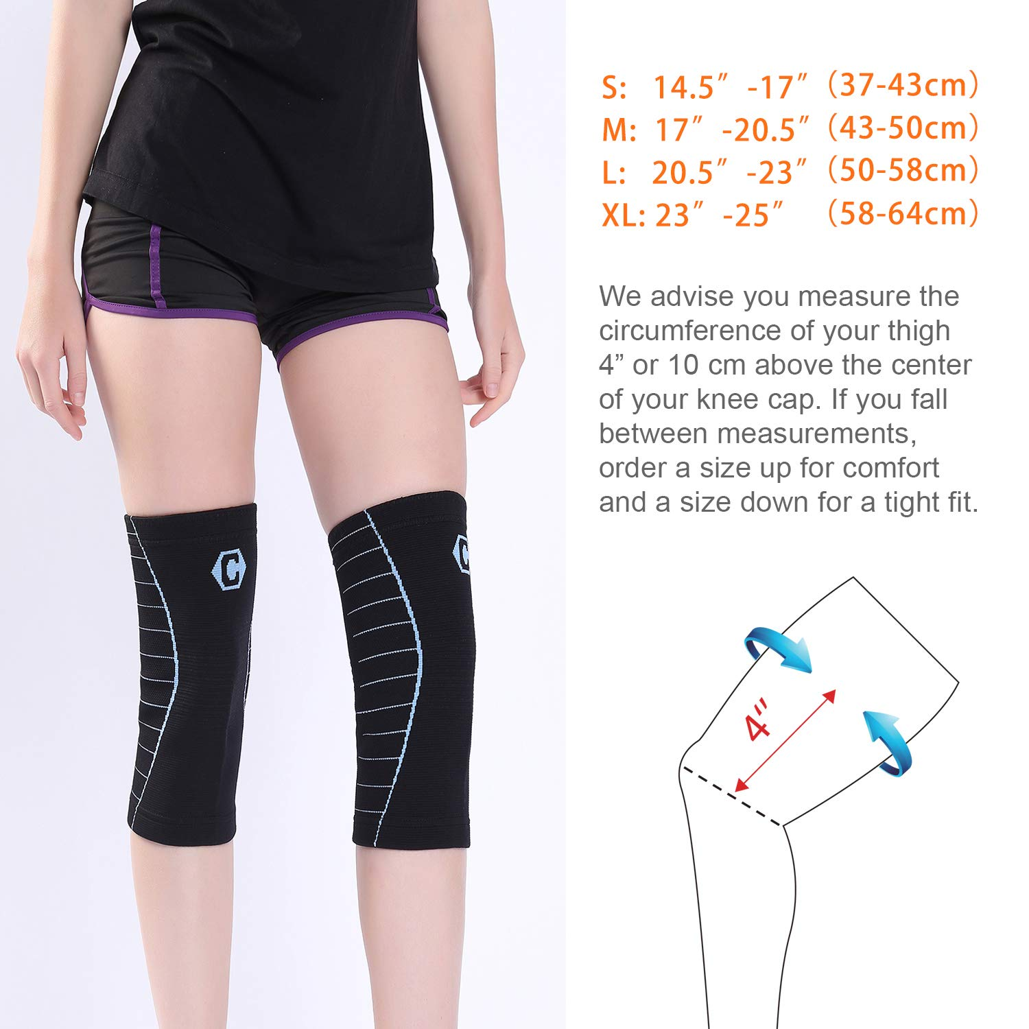 Gray CAMBIVO NS40 2 Pack Knee Sleeves L