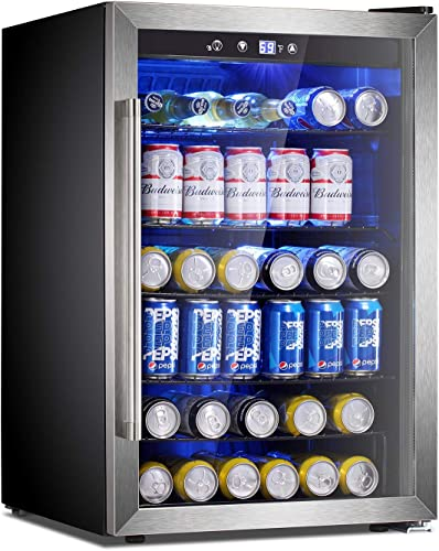 Antarctic Star Beverage Refrigerator Cooler-120 Can Mini Fridge Clear Front Glass Door for Soda Beer Wine Stainless Steel Glass Door Small Drink Dispenser Machine Digital Display for Office,Home, Bar,4.5cu.ft