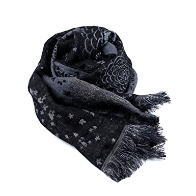 Luxury French Scarf - Black Wool and Silk Rectangle Scarf Shawl at ... 114acb45523cd