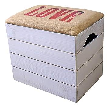 81e5c480e7e667 Liza Line Meuble Coffre Banc de Rangement (Blanc) Chaussures. Pouf, Malle à