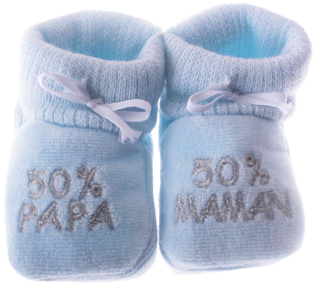 Happy Baby - Pantuflas para bebé de 0 a 3 meses, diseño de bordados con texto 50% papa y 50% maman, color azul