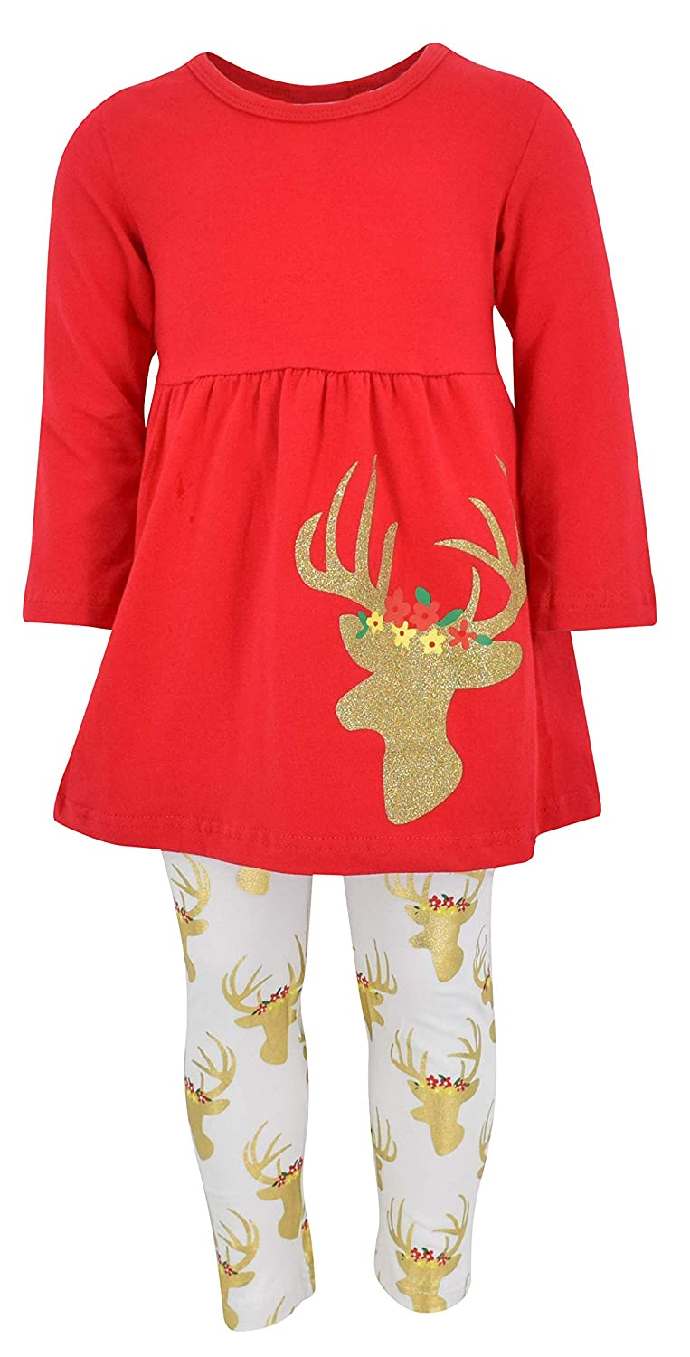e7d3f5b106466 Unique Baby Girls 3 Piece Christmas Winter Gold Reindeer Outfit