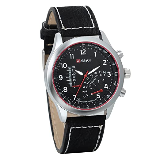 JewelryWe Clásico Relojes Grandes Hombre, Correa De Cuero Negro, Sensor de Temperatura Decorativo,