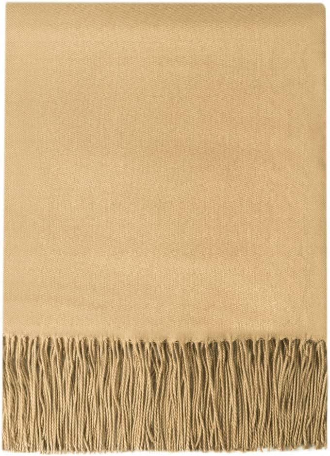 "BOURINA Faux Cashmere Throw Blanket Lightweight Soft Cozy for Bed or Sofa Decorative Blankets,50"" x 60"",Gold"