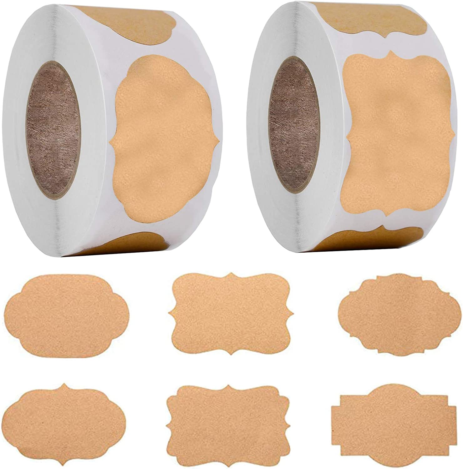 600PCS Kraft sticker Gift Tags Blank Natural Brown Kraft Sticker Paper Labels Roll 6 Scalloped Style Christmas Gift Tags for Holiday Glass Essential Oil Bottle Food Jar Gift Present Supplies 1.2
