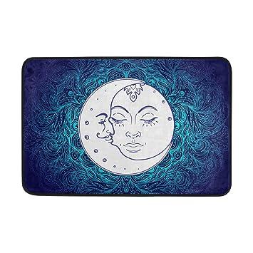 Alfombrilla de baño, Mandala Sol Luna impresión Antideslizante Anti Molde fácil seco Felpudo Alfombra para habitación de Ducha baño Puerta Interior al Aire ...