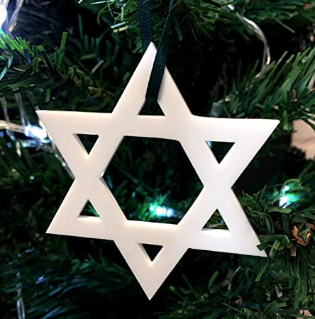 Star Of David White Christmas Tree Decorations   Pack Of 10