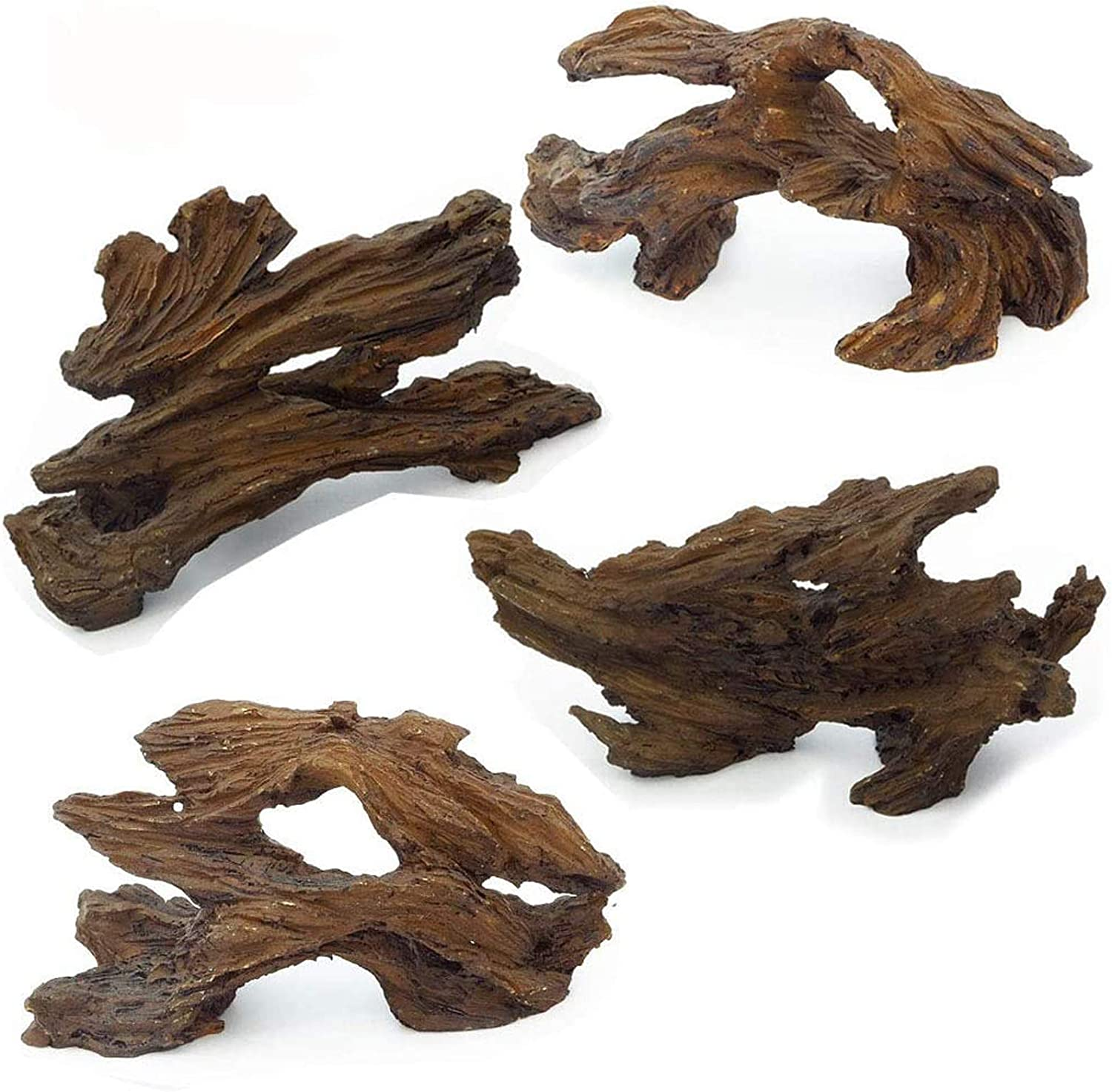 Hamiledyi Aquarium Resin Driftwood Decoration,Aquarium Decorations Log,Betta Fish Ornament 20 Gallon Fish Tank Wood with Holes & Aquarium Hideout Caves Freshwater Ornament(4 Pcs)