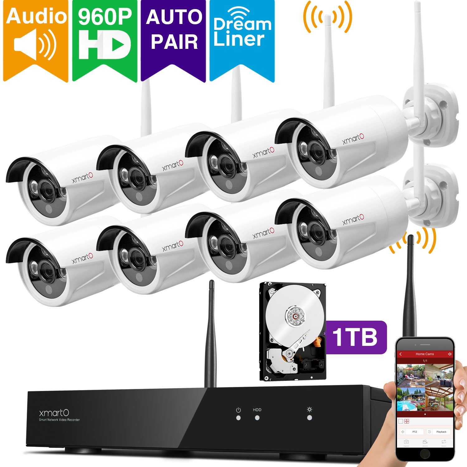 [Audio & Video] xmartO 8 Channel 960p HD Wireless Security Camera System with 8 HD Infrared Outdoor WiFi Cameras and 1TB Hard Drive, Dream Liner WiFi Relay, NVR Built-in Router, Auto-Pair by xmartO