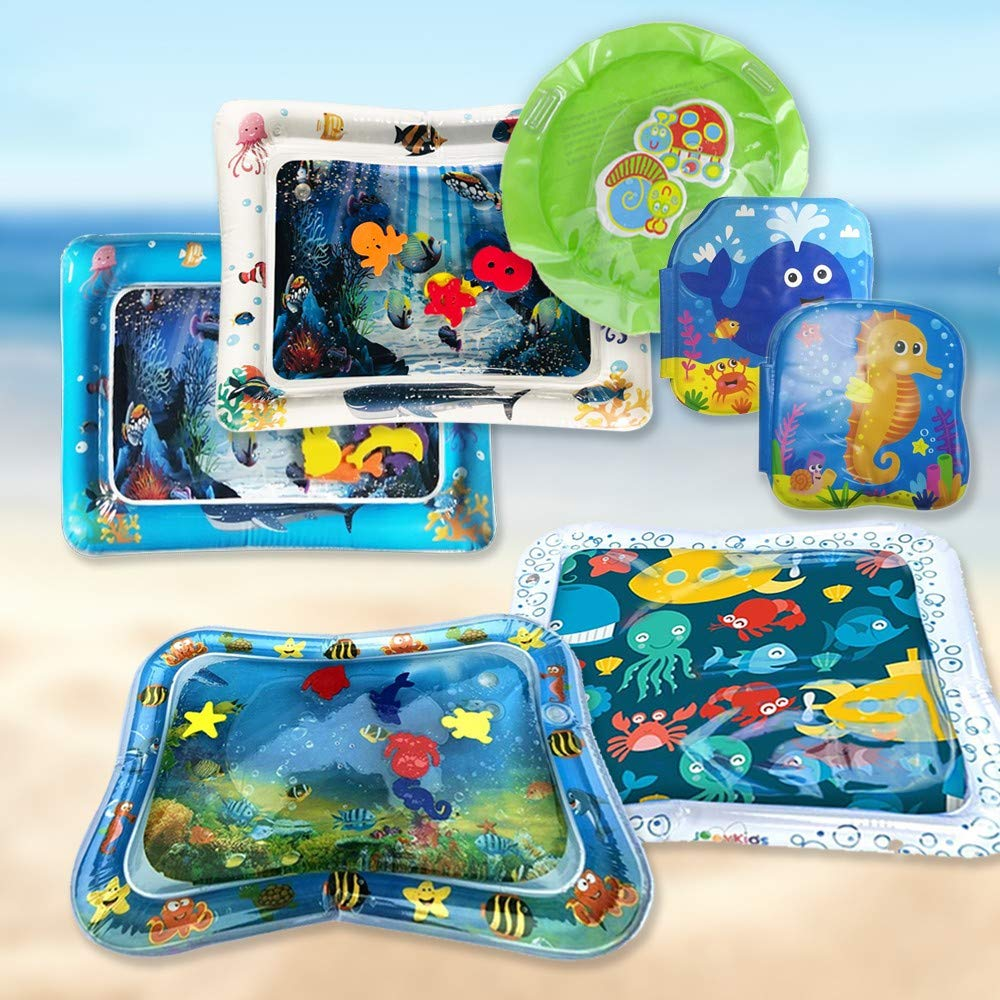 Samoii Baby Water Mat Inflatable Toddlers Water Mat Set Set of 7 Perfect Tummy Fun Time Activity Play Center for Children & Infants with Bath Books