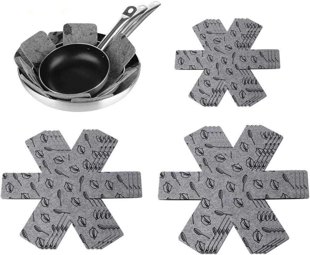 viene con un cepillo para lavar platos (3 tama/ños). juego de 12 almohadillas protectoras para sartenes protectores para cacerolas de fieltro protecci/ón para superficies de ollas