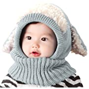 Bienvenu Infant Boys Hat Scarf Set Cutest Earflap Hood Hat Scarves Snow Cap Kids Christmas Gift, Gray