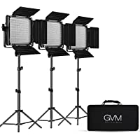GVM 3 Pack LED Video Lighting Kits with APP Control, Bi-Color Variable 2300K~6800K with Digital Display Brightness of 10…