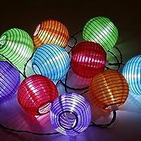 SunJas Guirlande Lumineuse Solaire Lanterne Lampions 20 LED de 4,8 mètres / 30 LEDs 6 mètres lanternes étanche Guirlande Lumineuse Lanterne Solaire Exterieur Décoration Extérieur ou Intérieur, Jardin, Cour, Couloir, Fête, Maison [classe A énergétique +++] (20 LEDs Multicolore)