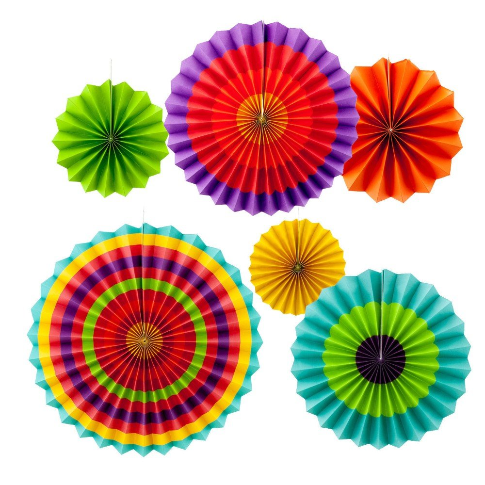 12 Colorful Fiesta Hanging Paper Fans Party DecorationParty Supplies 8'' 12'' 16'' by Unknown