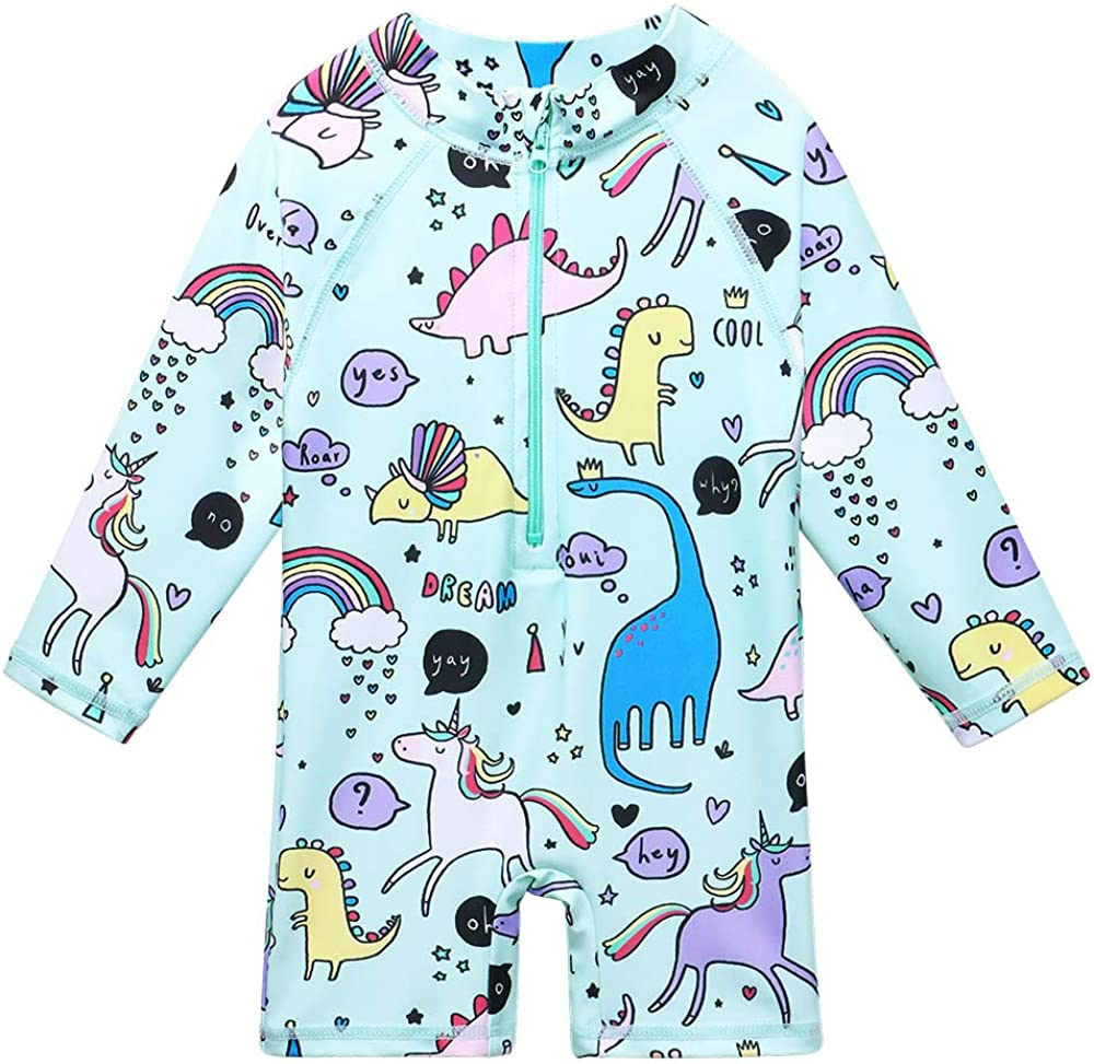 XIAOFEIGUO Baby Girls Swimsuit One Piece Long Sleeve Rash Guard Shirts Quick-Dry Bathing Suit 5-6 Years Cyan