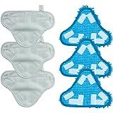 TaylorHe Confezione da 6 panno di ricambio per mocio, lavabili, a lunga durata, con fissaggio in velcro, (3 panni in microfibra, 3 panni in microfibra corallo) compatibili con H20 X 5