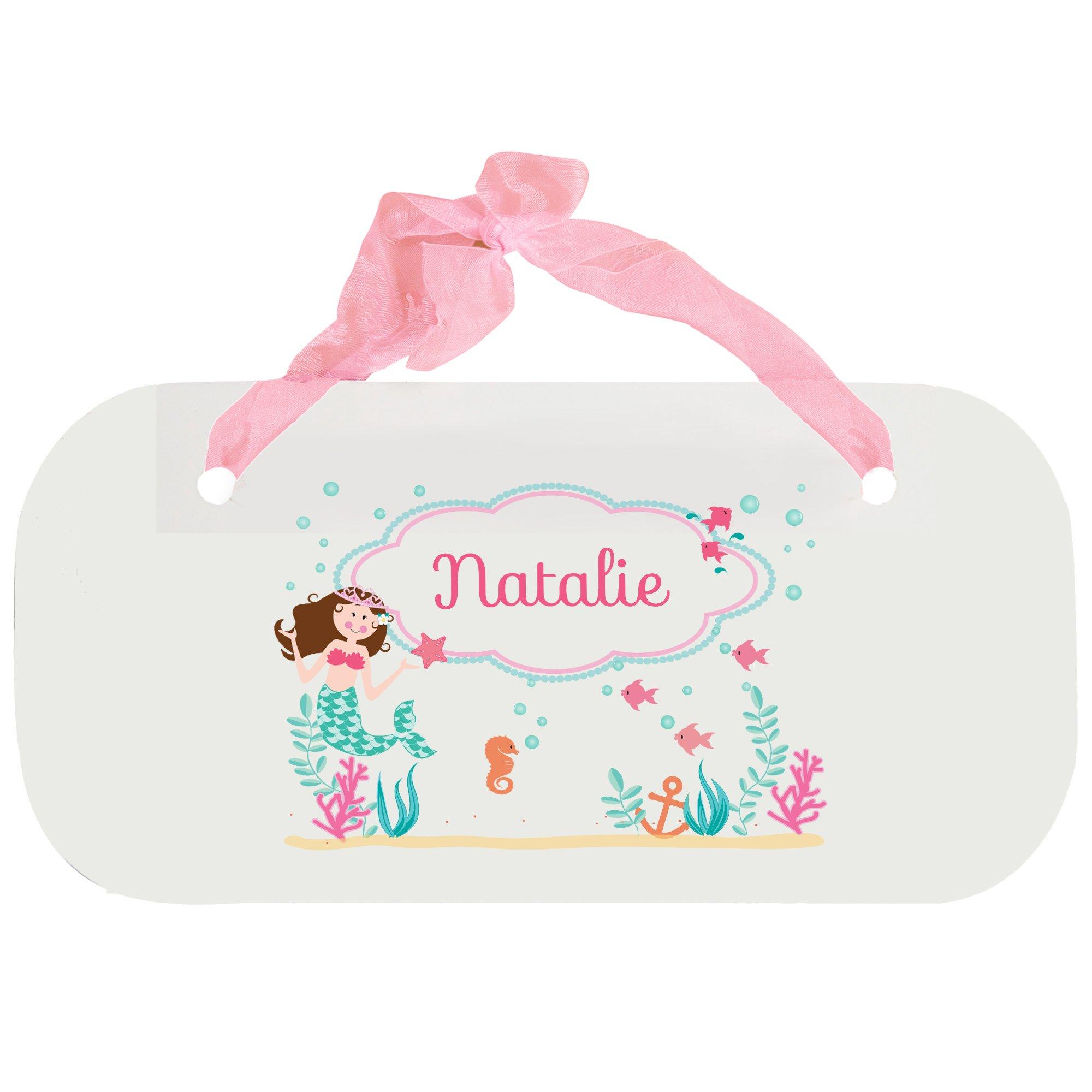 Personalized Brunette Mermaid Princess Nursery Door Hanger Plaque with pink ribbon