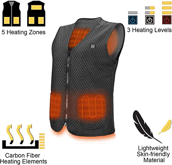 Electric Warm Clothing Body Warmer Waterproof Heated Vest for Outdoor Activities Lightweight Heating Vest with 3 Gears Temperature Adjustment Naduew Electric Heated Vest