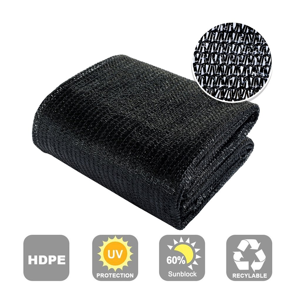 Agfabric 60% Sunblock Shade Cloth Cover with Clips for Plants 6.5' X 20', Black Wellco Industries Inc. SDR6006H020B