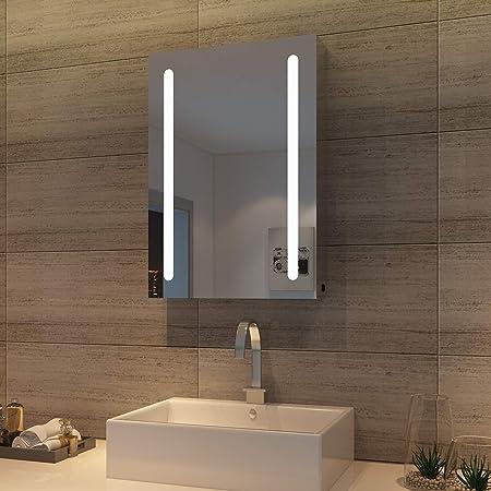 sunnyshowers LED Spiegelschrank 70 x 50 x 13 cm Hochglanz Badezimmerspiegel - Badschrank mit Beleuchtung