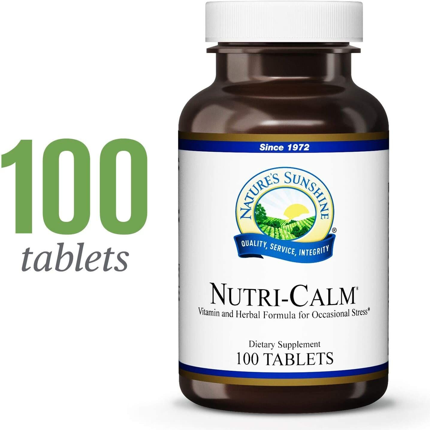 Nature s Sunshine Nutri-Calm, 100 Tablets Natural Anxiety Supplement to Promote Peace of Mind and Cope with Occasional Stress