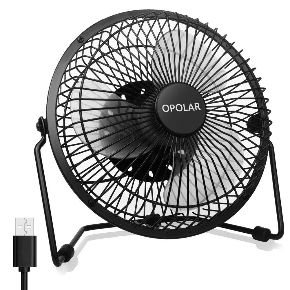 OPOLAR Office Quiet Desk Fan, USB Powered Only, 360 Degree Rotation, Perfect Personal Fan, Mini Metal Cooling Fan Dorm Office Table - 5V 6 inch Enhance Airflow (Black)