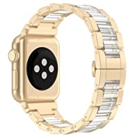 Wearlizer Resin Link Band Compatible Apple Watch Band 38mm 42mm Women Men iWatch Band Metal Apple Watch Strap Bracelet Accessories Wristband Replacement Band for Apple Watch Band Series 3 2 1