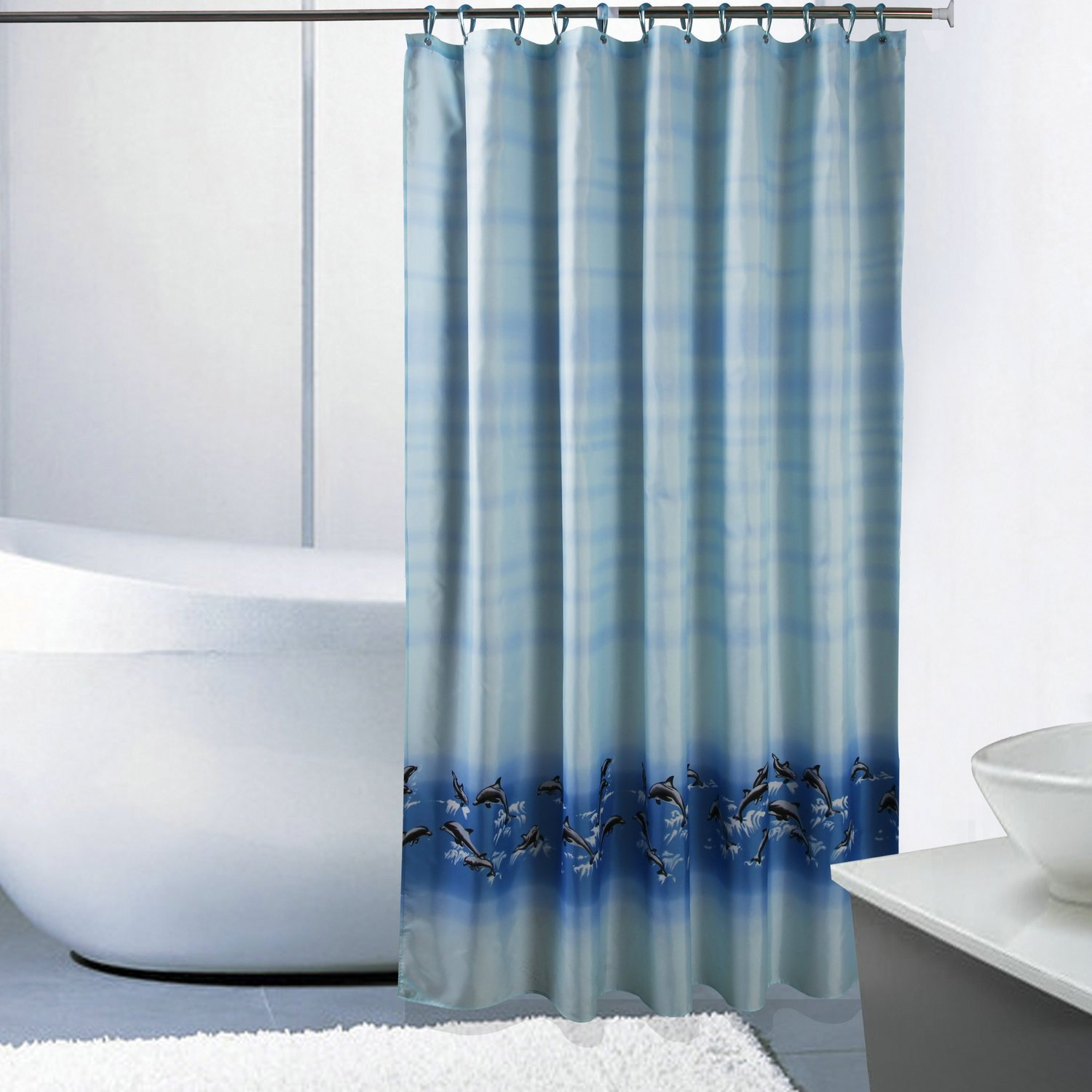 Curtain Mouldproof Waterproof Shower Curtain, Dolphin New, Thick Polyester Cloth Shower Curtain Shower Equipment (Size : 180200cm)