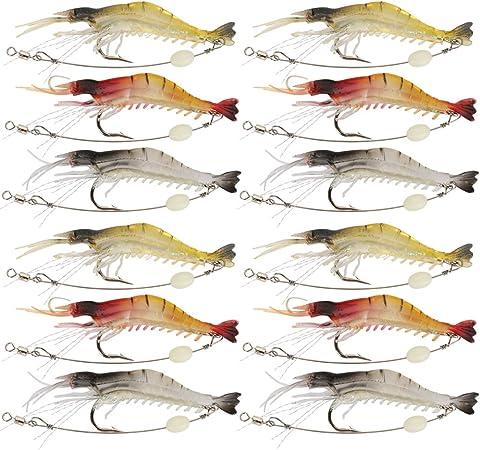 5pcs Luminous Shrimp Baits Sea Fishing Soft Bait Lure Single Hook Tackle Crank G