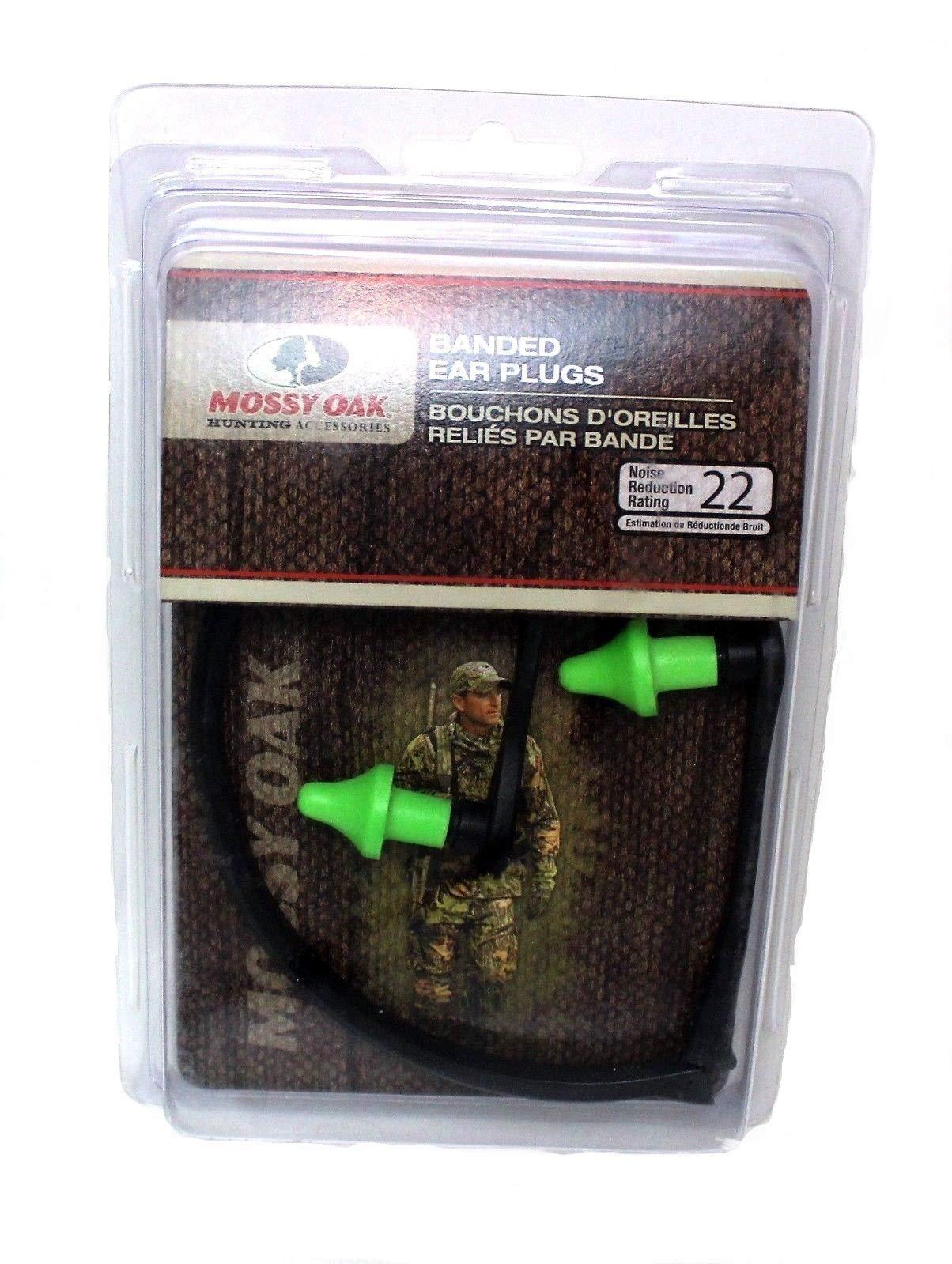 Mossy Oak Banded NRR22 Ear Plugs (Black/Green, One size) by Mossy Oak Hunting Accessories