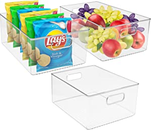 Sorbus Plastic Storage Bins Clear Pantry Organizer Box Bin Containers for Organizing Kitchen Fridge, Food, Snack Pantry Cabinet, Fruit, Vegetables, Bathroom Supplies, (3-PACK)