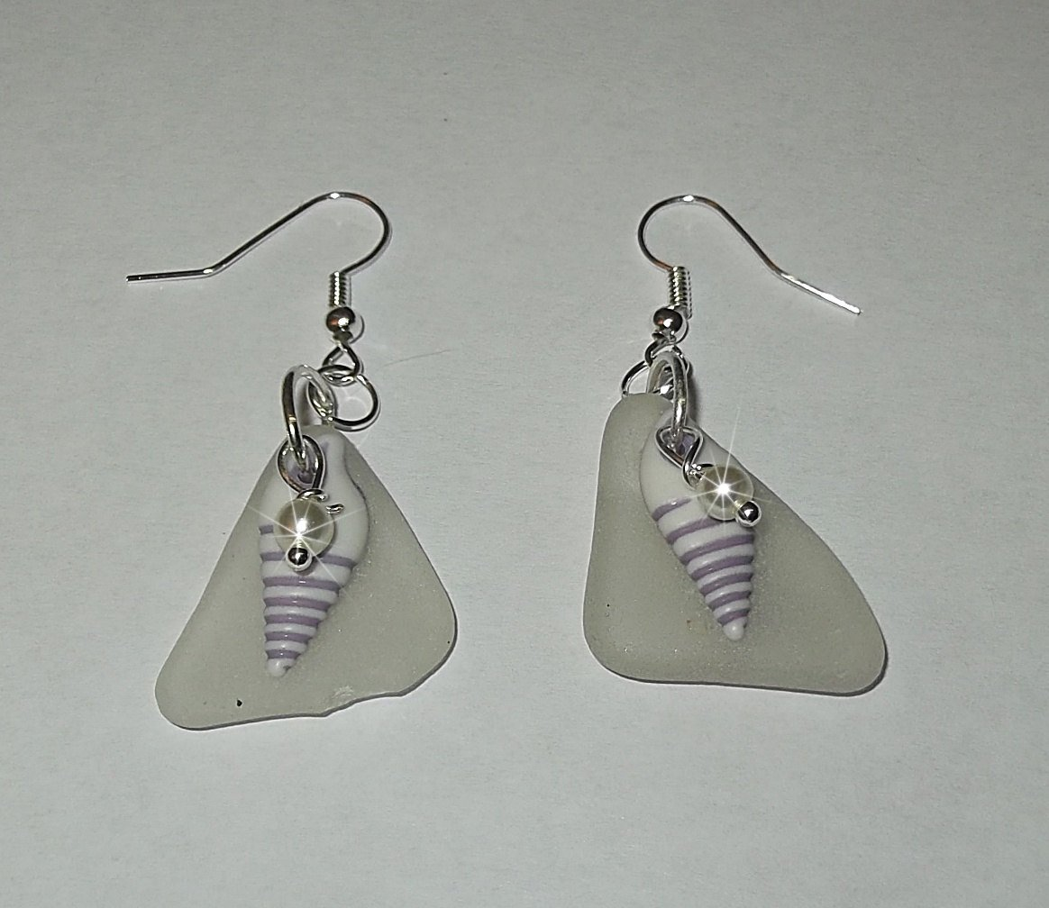 Earrings made of shells and sea glass