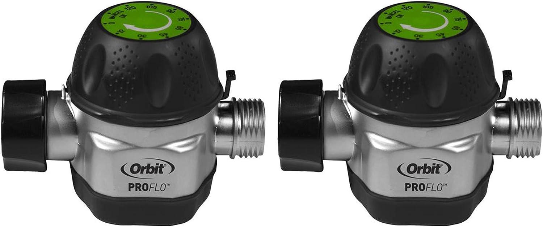 Orbit High Flow Metal Mechanical Garden Faucet Watering Hose Timer (2 Pack)