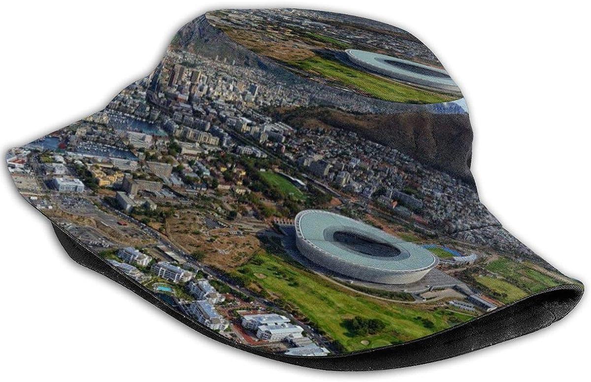 NA Bucket Hats (Unisex) Gorra de verano al aire libre de ala ancha | Senderismo, Playa-Ciudad del Cabo Sudáfrica Edificios Montañas del Estadio