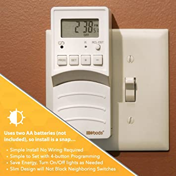 Woods 59744 59744WD Flip Converts Toggle Switch Timer, User Friendly, Slim  Design, Energy Saving, Battery Operated, Easily Programmable with