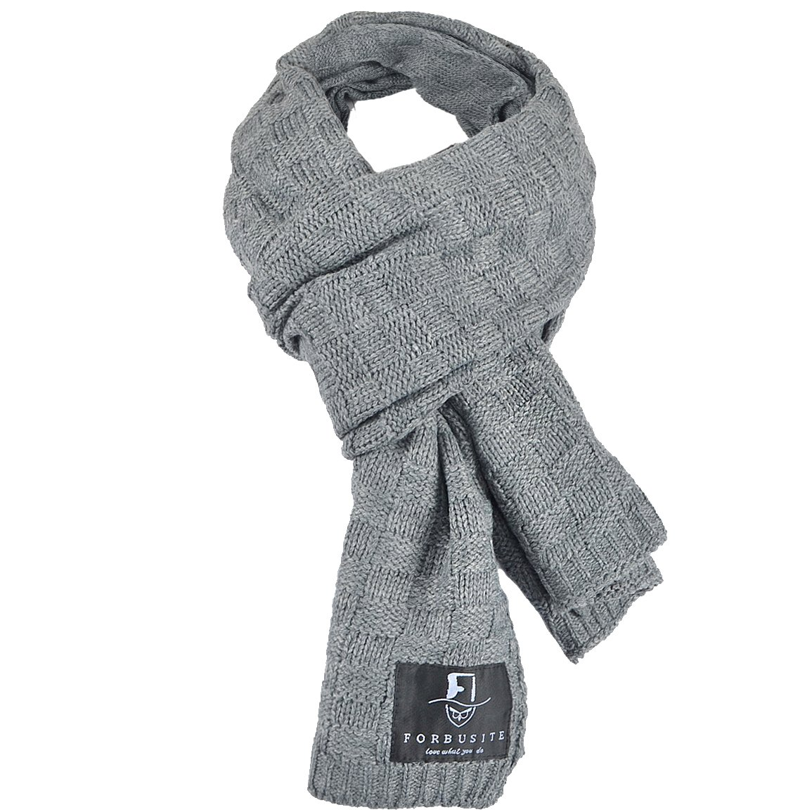 FORBUSITE Stylish Unisex Daily Square Pattern Soft Knitted Winter Scarf E5031 Smoky Grey